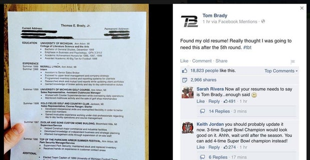 tom brady posts his back up resume on facebook
