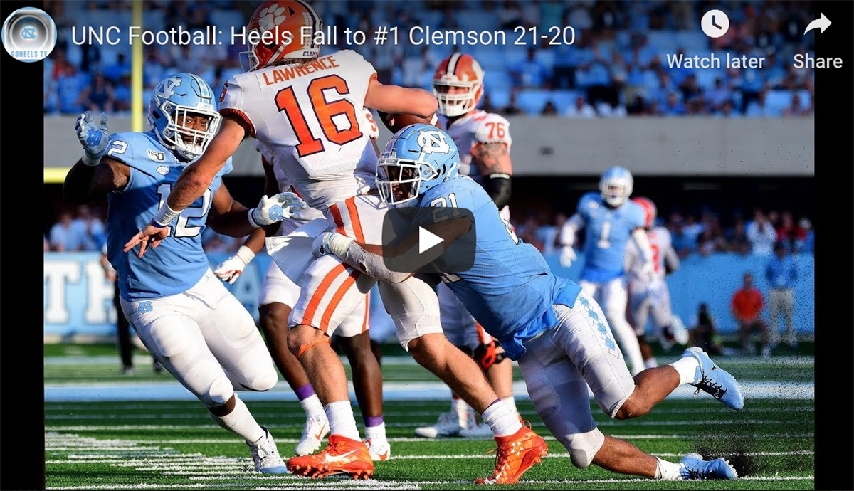 Watch: Highlights from UNC's 21-20 Loss to Clemson
