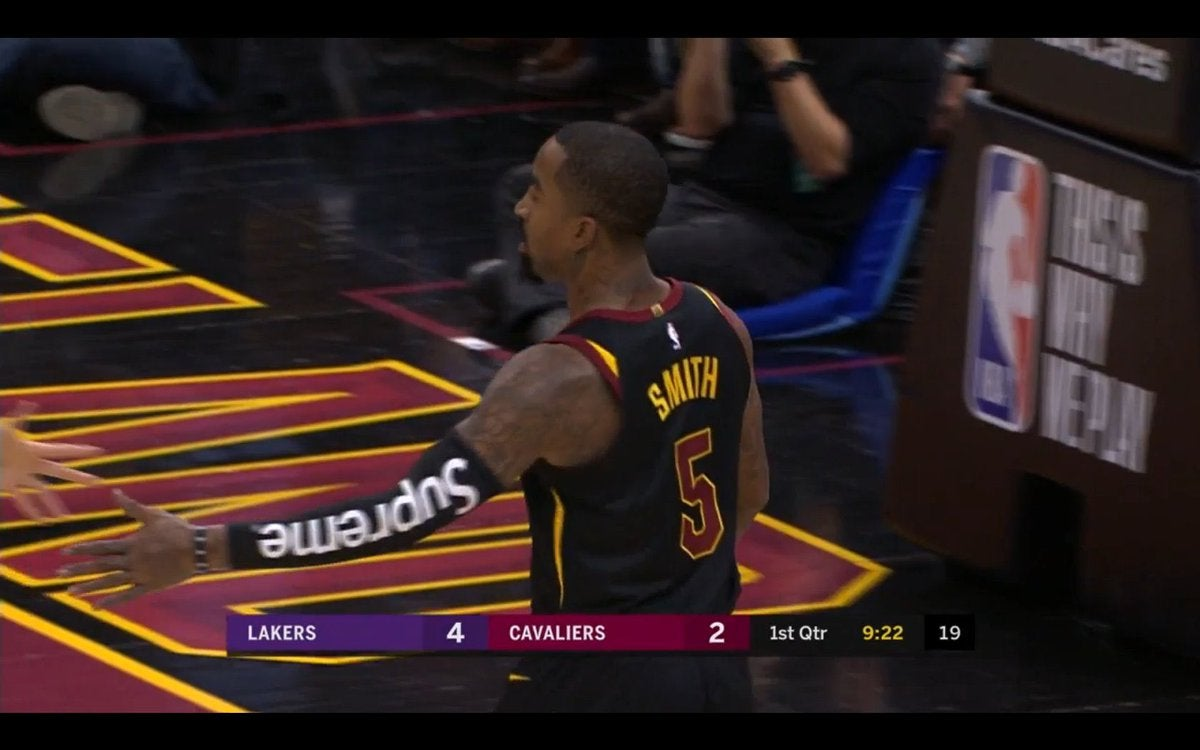 LOOK  J.R. Smith wears Supreme shooting sleeve against Lakers c442f16bc