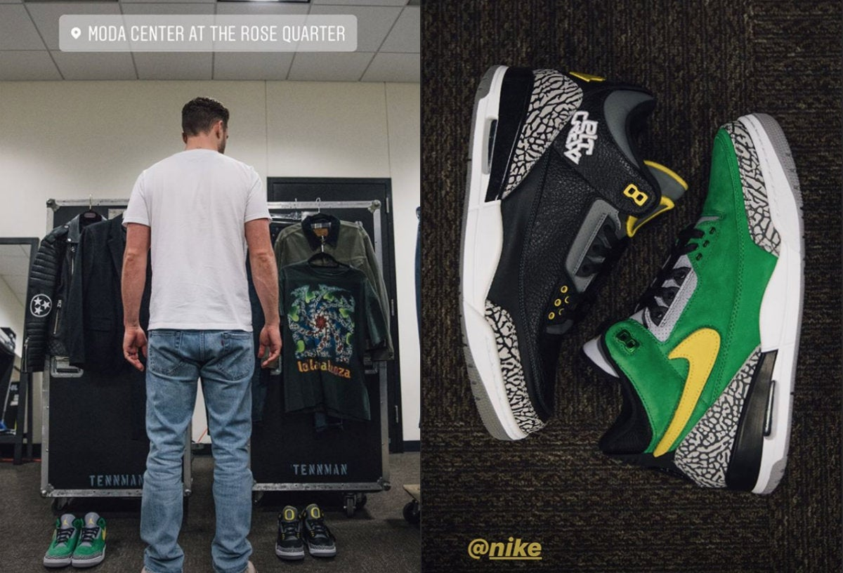 finest selection e16d1 b9ec1 Justin Timberlake wears Oregon sneakers during portland show