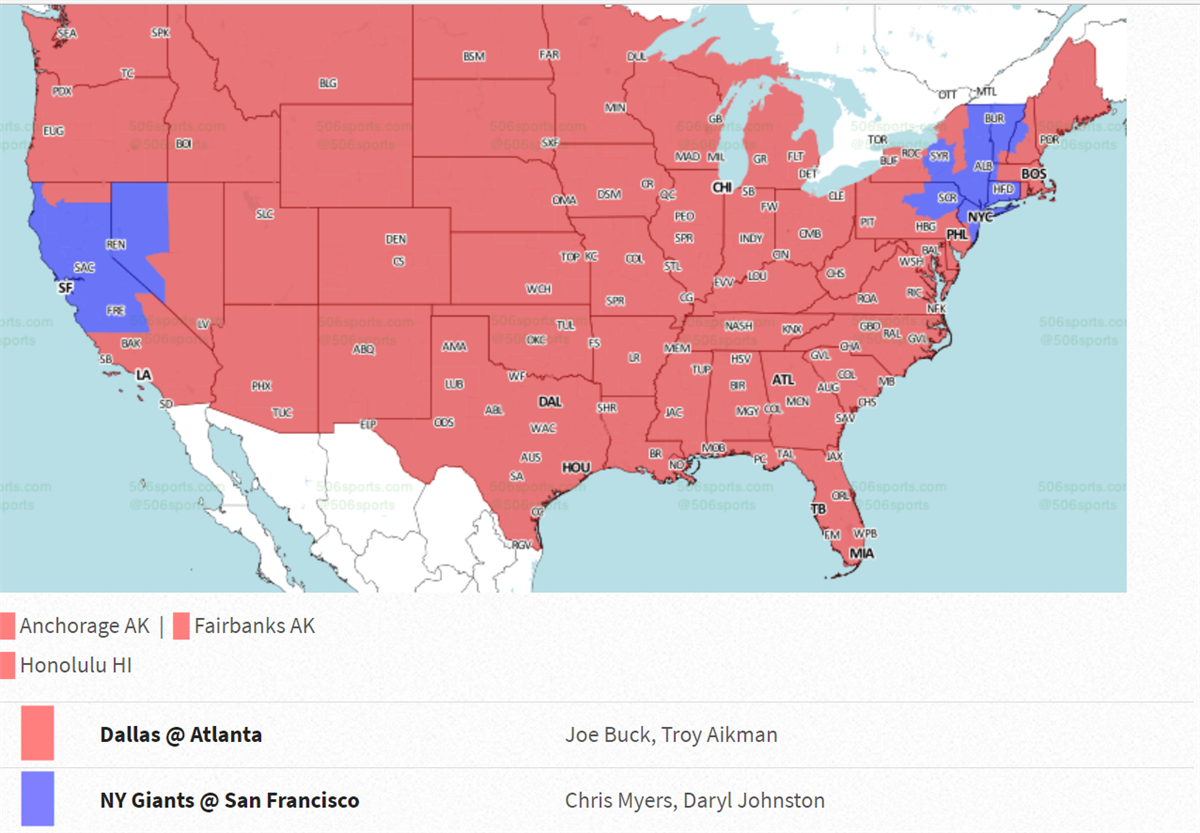 New York Giants vs San Francisco 49ers TV Coverage Map