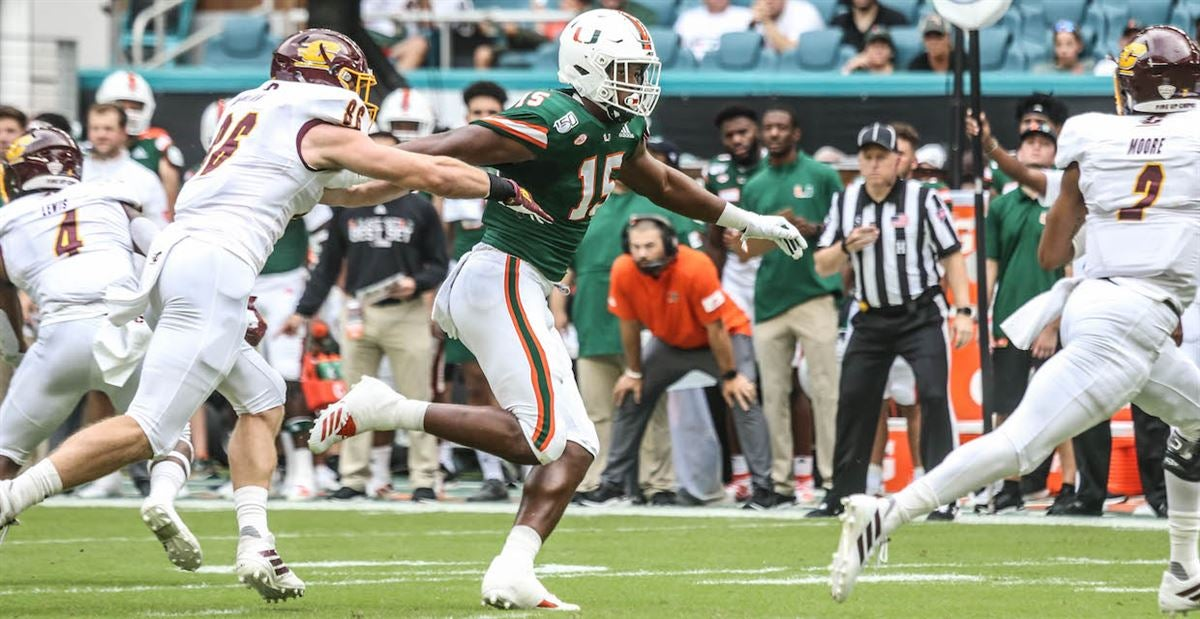 Miami opened up the defensive line rotation vs. Central Michigan
