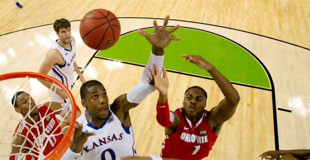 9a958a0be641 31 MAR 2012  Forward Thomas Robinson (0) from the University of Kansas  battles for control of a loose ball against forward Deshaun Thomas (1) from  Ohio ...