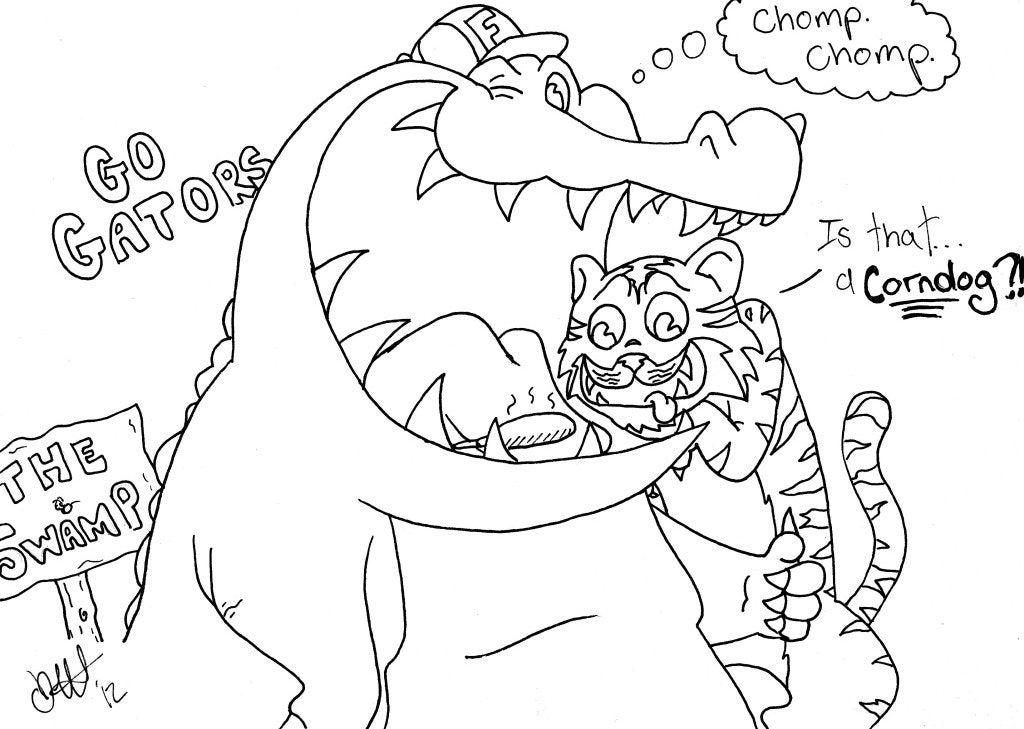 Gator coloring sheets for Kids LSU week