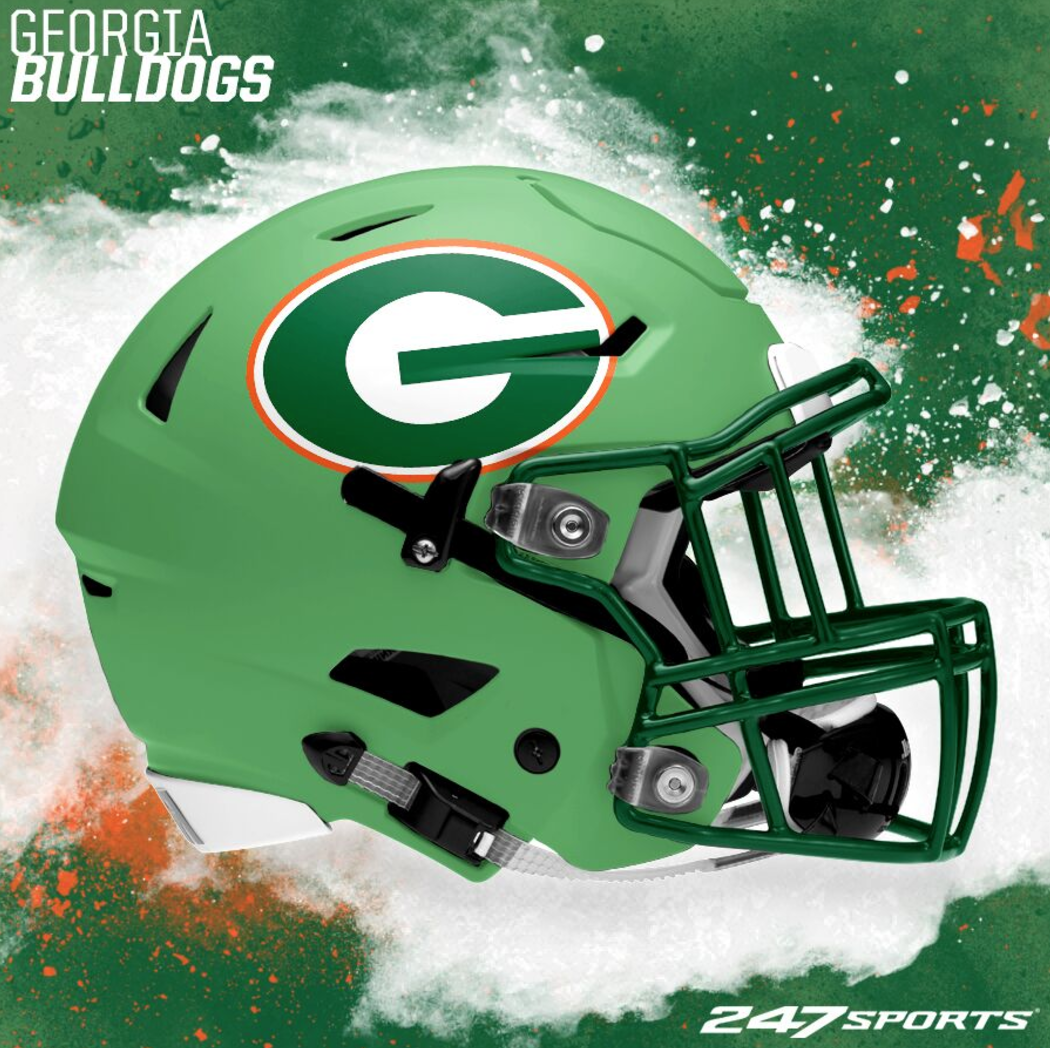 3408e56a465 Check out these college football St. Patrick's Day helmets