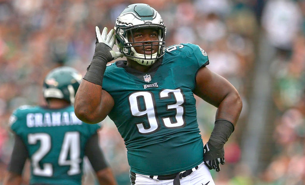 sale retailer b9887 aef85 Tim Jernigan watched Eagles practice from the sideline