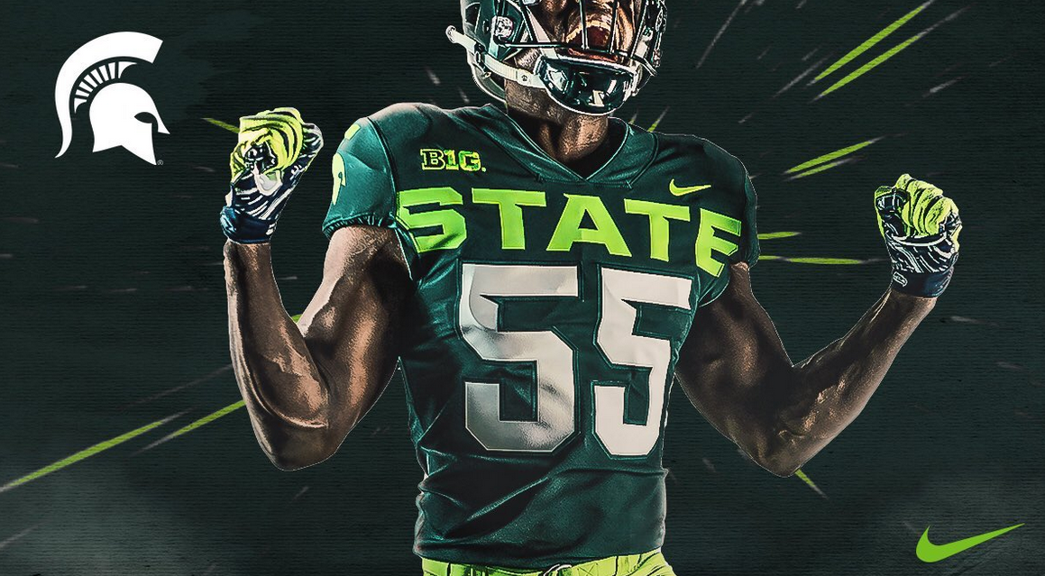 cheaper a1359 7e579 Reaction: Michigan State's lime alternate uniforms miss mark