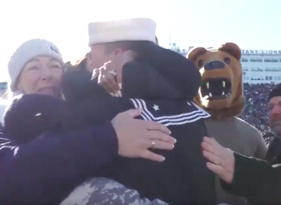 WATCH: Military reunion takes place at halftime of PSU-IU game