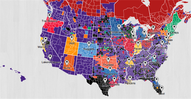Interactive Fan Map Shows Lakers To Be Most Popular NBA Team - Us map of nba teams
