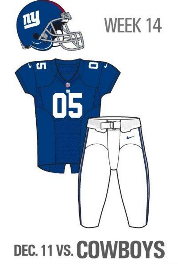 the latest d5e1a 049ea New York Giants will wear home blue jerseys vs. Cowboys ...