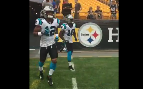 sports shoes aed01 96bec Panthers wearing new white, black uniform combo vs. Steelers