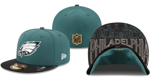 Here is what the Eagles 2015 draft hats look like 294ac2fd489