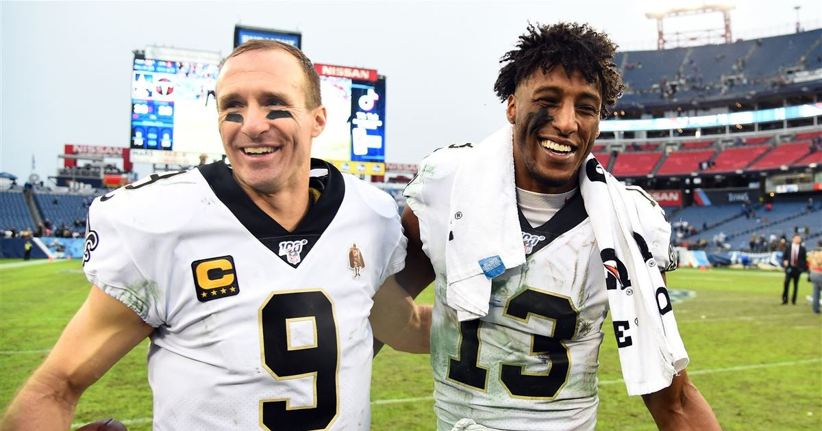 Michael Thomas reacts to Drew Brees' announcement