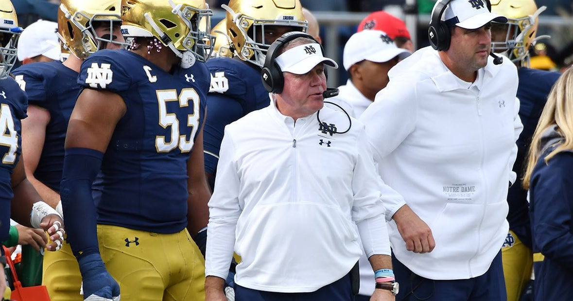 Notre Dame head coach Brian Kelly on the road recruiting