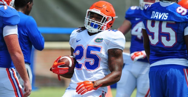 Jim McElwain, on the versatility having RBs who can catch allows