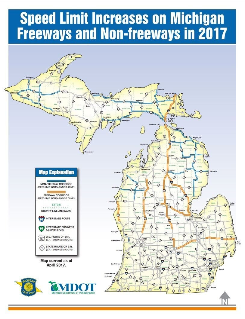 Map of the 2017 speed limit increases in Michigan