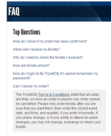 Ticket City order cancellation policy stinks