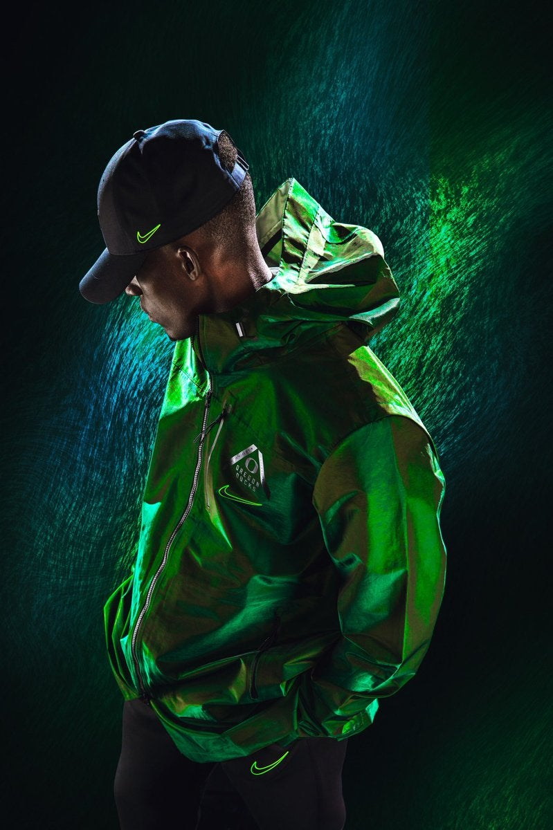 Nike produced new Oregon sideline apparel for this season. This jacket  retails for  400 and is available in green or white. b13d3bf75