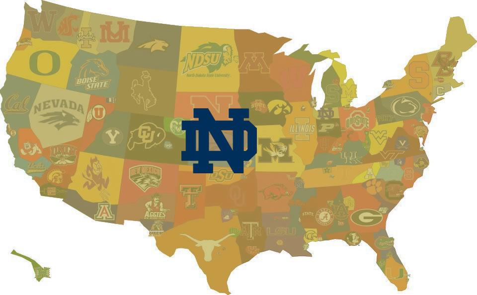 Bo Pelini Son To Walk On To ND - Us map of college football teams
