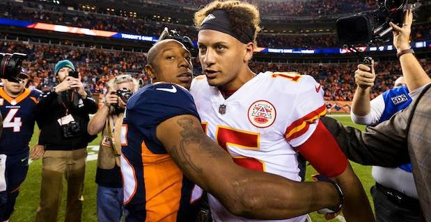 Look Chris Harris Jr Discovers He S Related To Patrick Mahomes