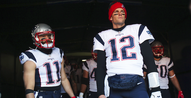 low priced 93a63 fd2a9 Tom Brady works out with Julian Edelman at Boston College