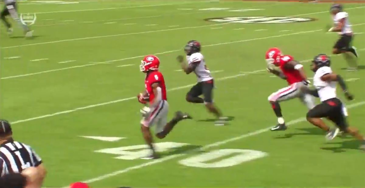 WATCH: Kenny McIntosh shakes and bakes on first career TD run