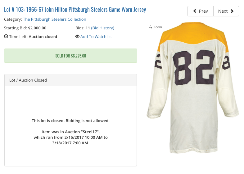 17 pieces of Steelers memorabilia sell for $325K at auction