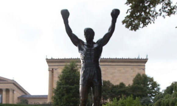 tom brady jersey on the rocky statue