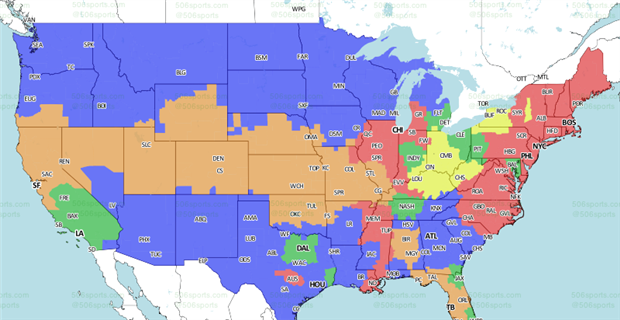 Vikings Vs Cardinals Coverage Map CBSSportscom - Map of us bank