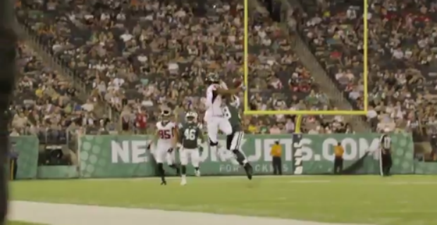 WATCH: Devin Gray moss a Jets defender in Falcons opener