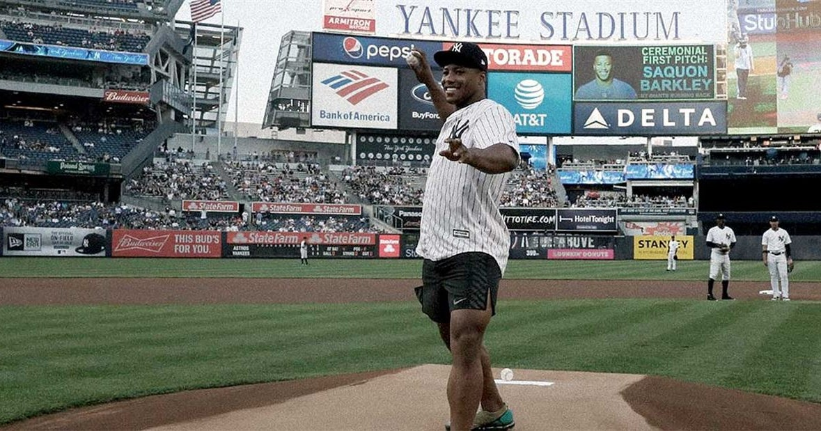34c3448ffe893 Saquon Barkley hits the field for the New York … Yankees