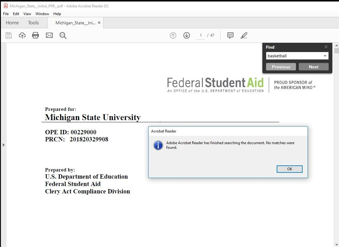 ESPN: U S  Dept of Education cites MSU with Clery Act violations