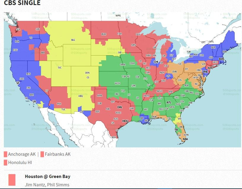 Green Bay Packershouston Texans Coverage Map