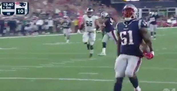 WATCH: Ja'Whaun Bentley scoops up fumble for score vs. Eagles