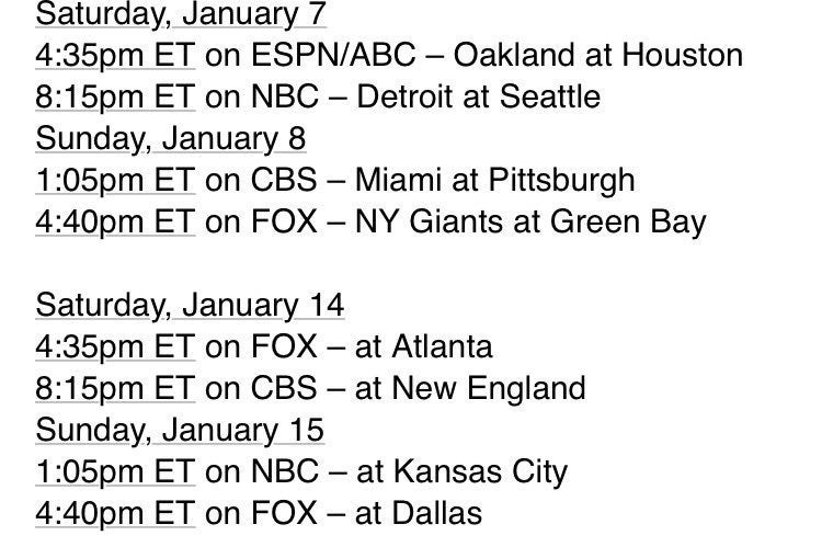 NFL Playoff TV Schedule Released (HOU on Sat