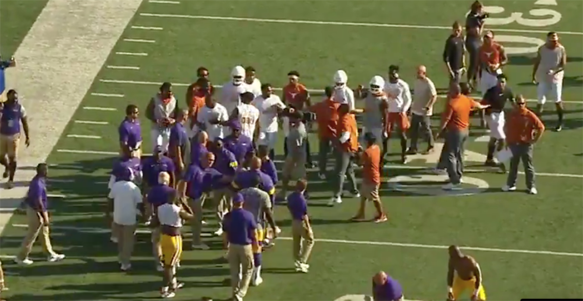 LSU and Texas players had to be separated in pregame warmups