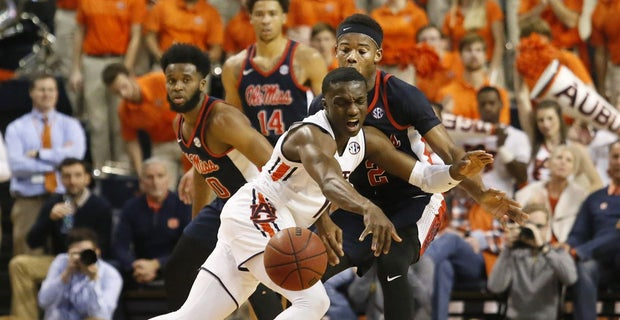 Auburn Tigers Guard Jared Harper 1 Reacts After Being Fouled By Ole Miss Rebels Devontae Shuler 2 During The First Half At Arena