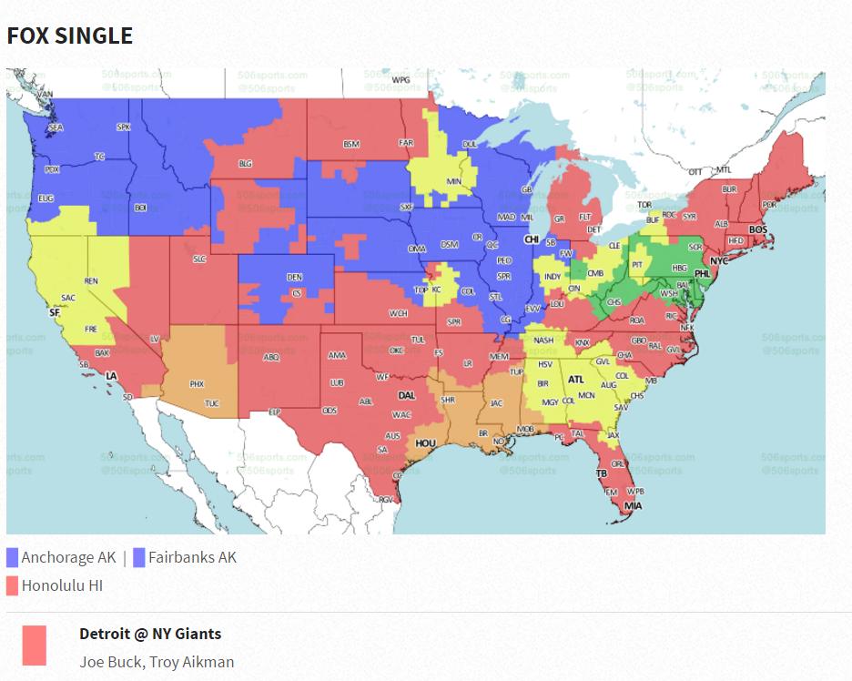 New York Giants vs Detroit Lions TV Coverage Map Week 15