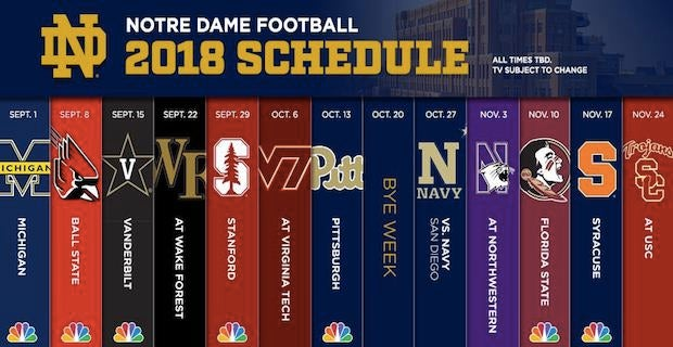 Notre Dame Releases 2018 Football Schedule