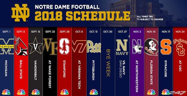 football schedule today college notre dame score live