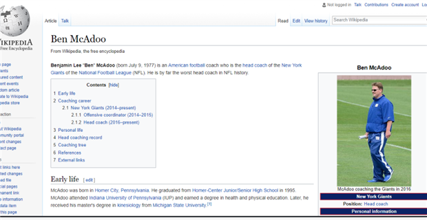 Alleged Giants fan changes Ben McAdoo\'s Wikipedia page