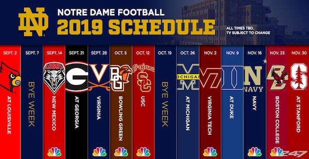 2019 Notre Dame Football Schedule 2019 schedule for Notre Dame football has been released