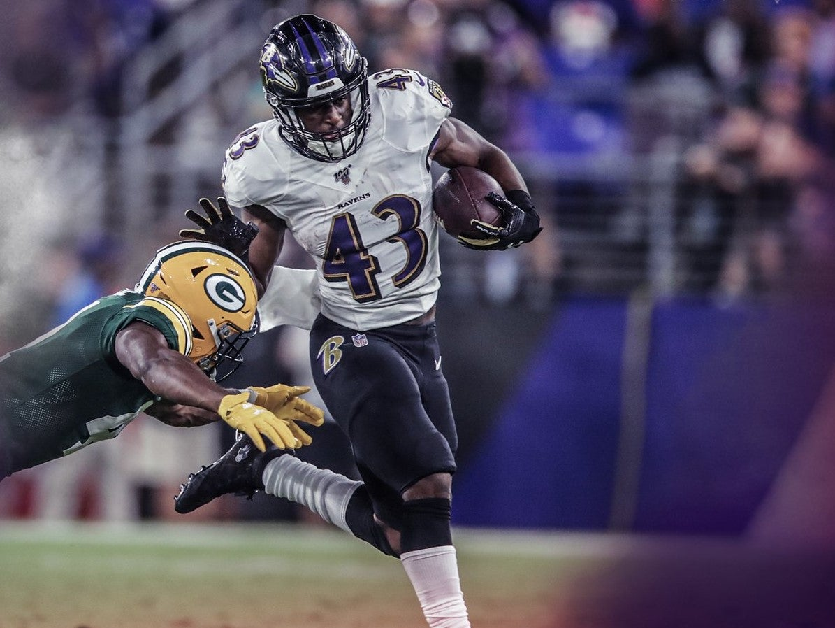 Hill leads Ravens in rushing again, scores first NFL touchdown