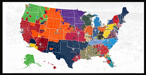 Map NFLs most popular teams According to Twitter