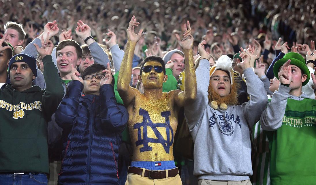 Many Notre Dame students knelt during national anthem