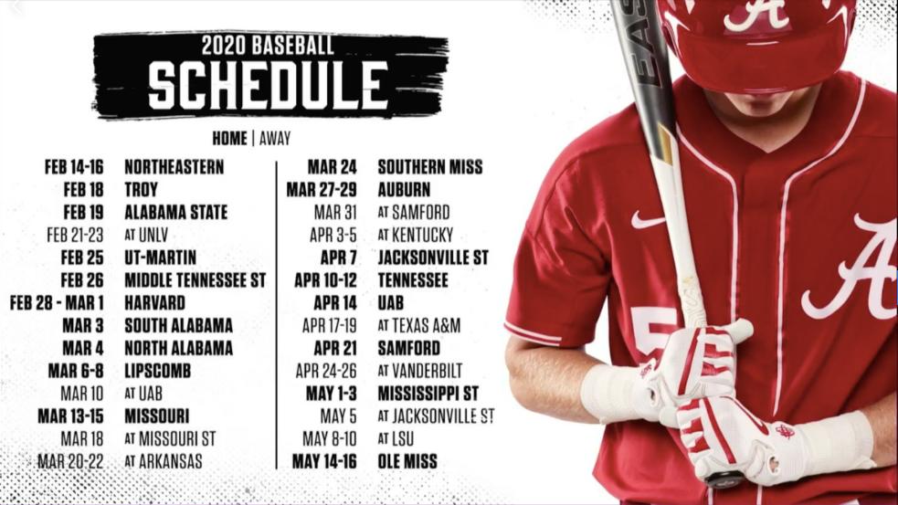 Alabama Schedule 2020.Alabama Baseball Team Announces Its 2020 Schedule