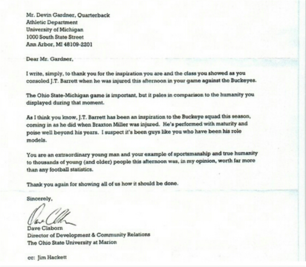 ohio state sends letter of appreciation to devin gardner sports yahoo com ncaaf dr saturday ohio state sends devin gardner letter thanking him for his compassion toward j t barrett 200543042 html