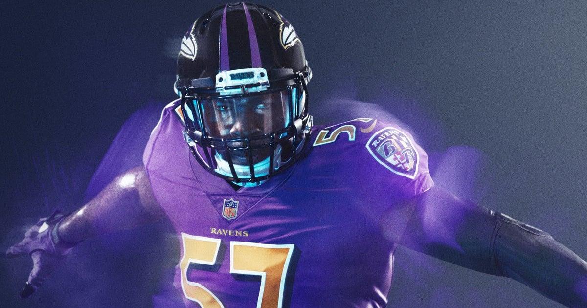 LOOK  Sneak peek of the Baltimore Ravens  color rush  uniforms 8a4ba7e68