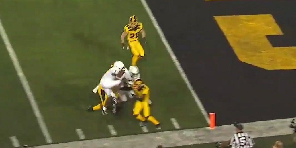 WATCH: Penn State's KJ Hamler leaps for a touchdown