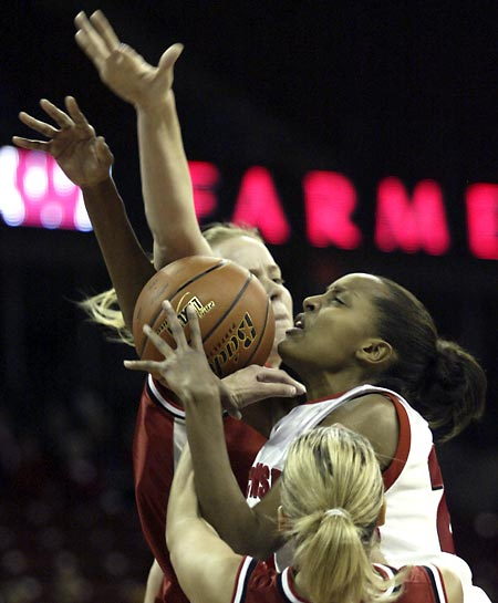 Ebba Gebisa is blocked as she goes up for a shot against